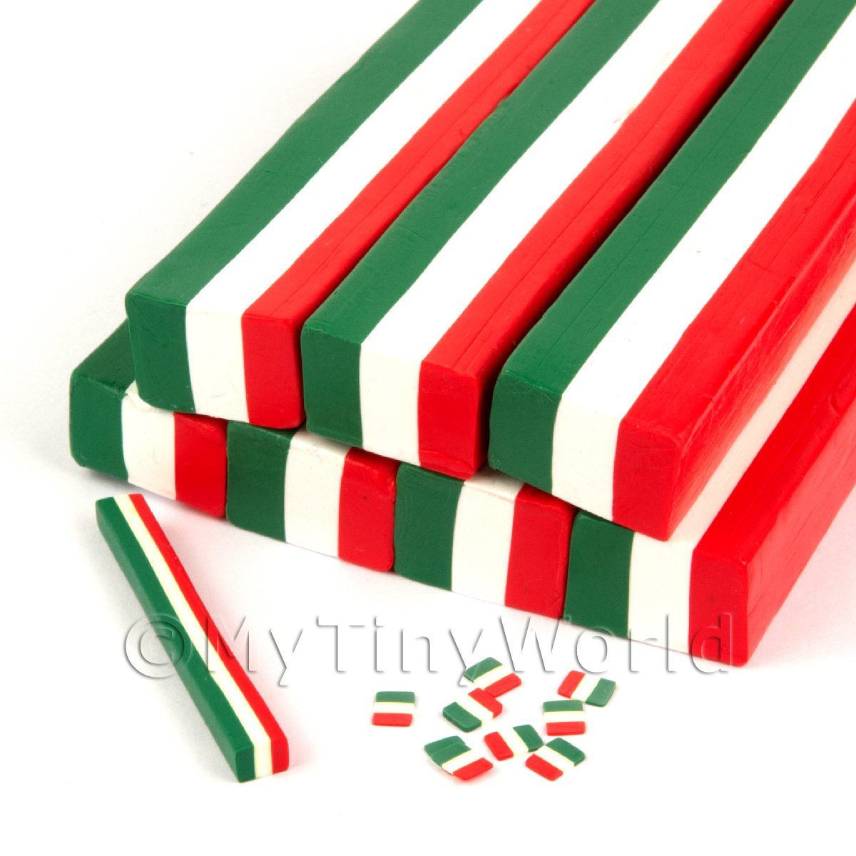 Unbaked Italian Flag Cane Nail Art And Jewellery UNC77