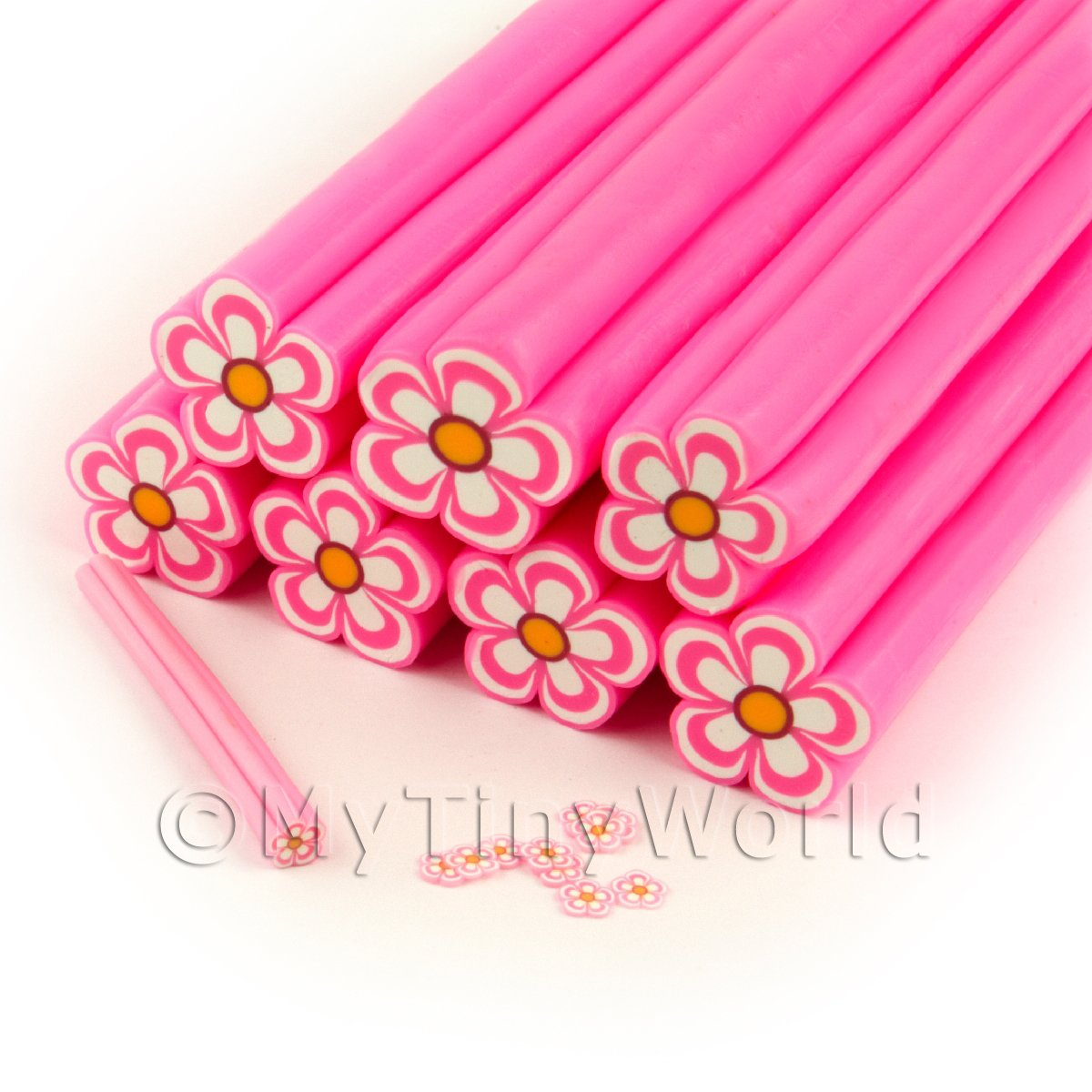Unbaked Pink Flower Cane Nail Art And Jewellery UNC78