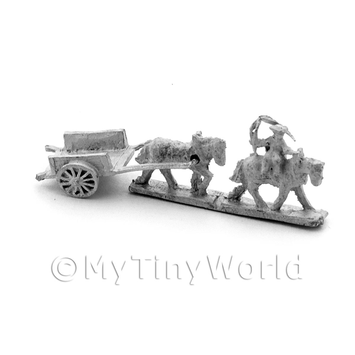 Dolls House Metal Marlburian Wagon and Horses