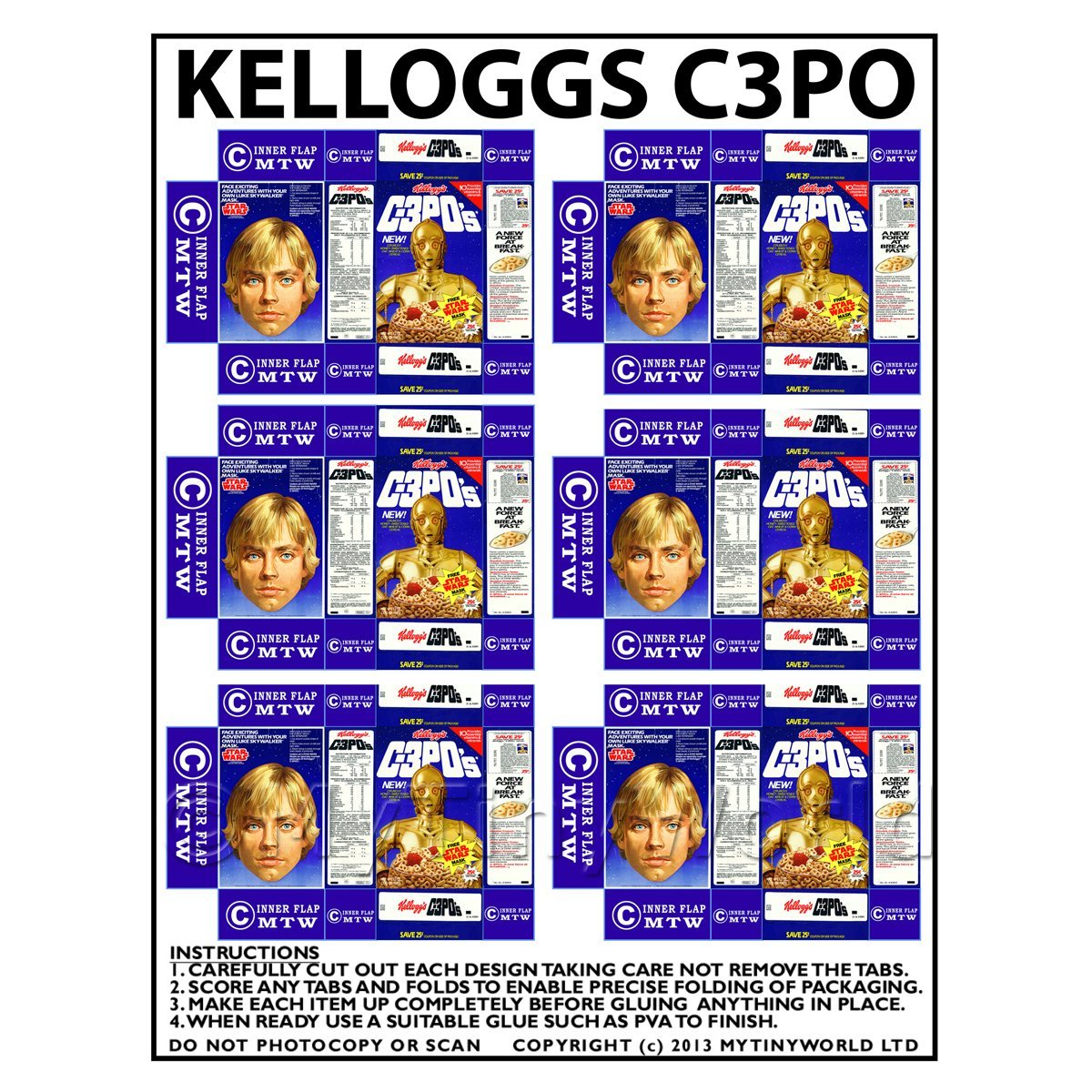 Dolls House Miniature Packaging Sheet of 6 Kelloggs C3POs