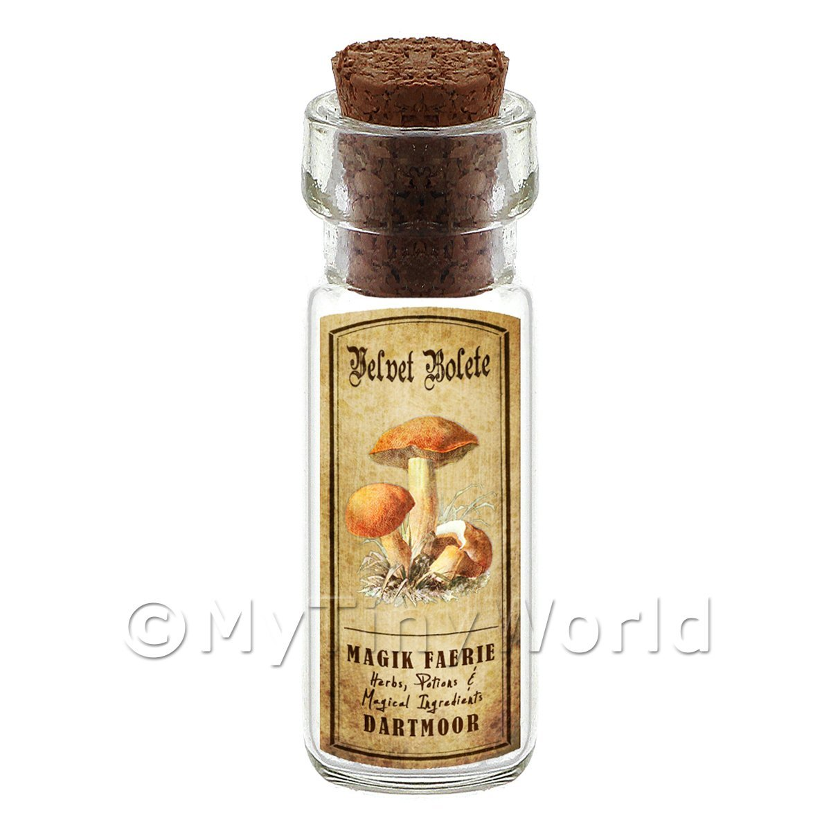 Dolls House Apothecary Velvet Bolete Fungi Bottle And Colour Label