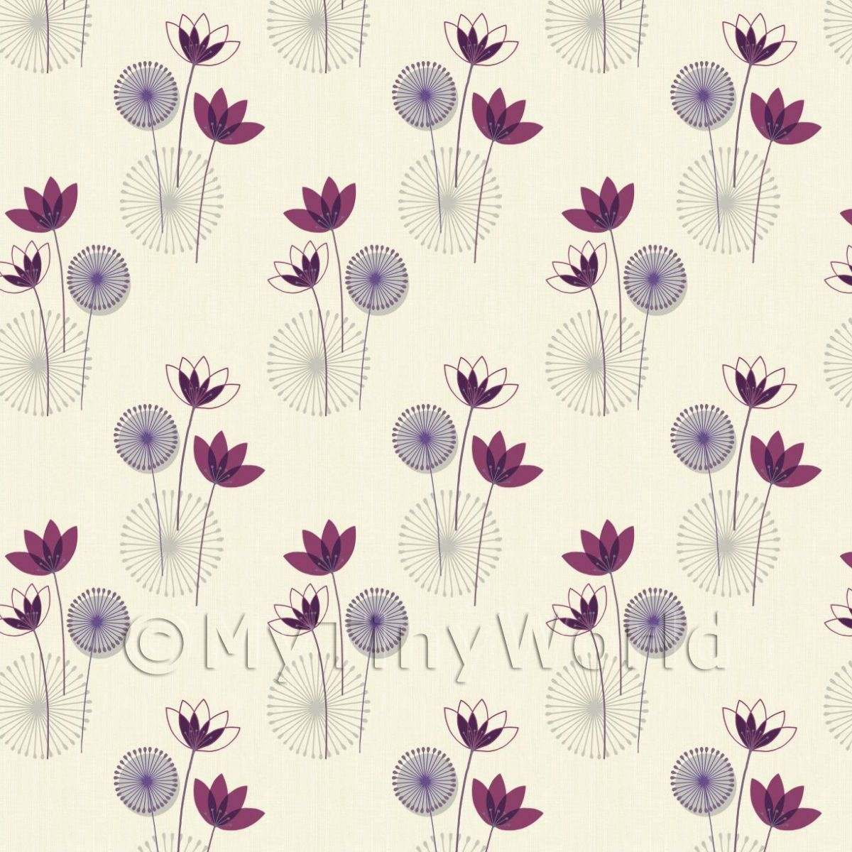 Dolls House Miniature Styalised Purple Flower Wallpaper