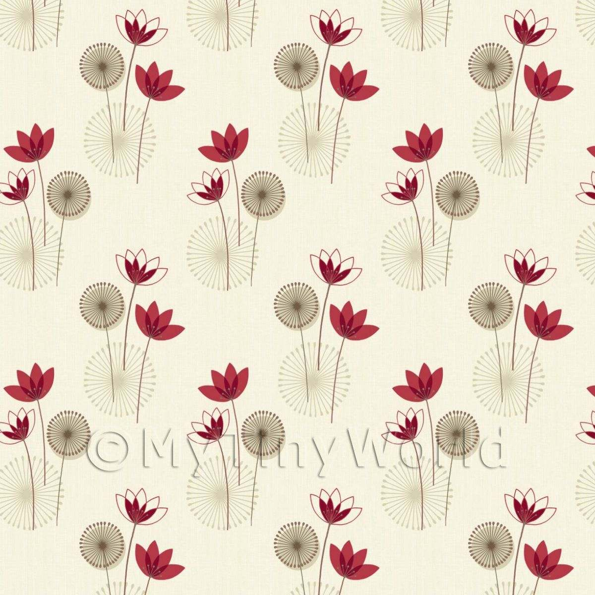 Dolls House Miniature Styalised Red Flower Wallpaper