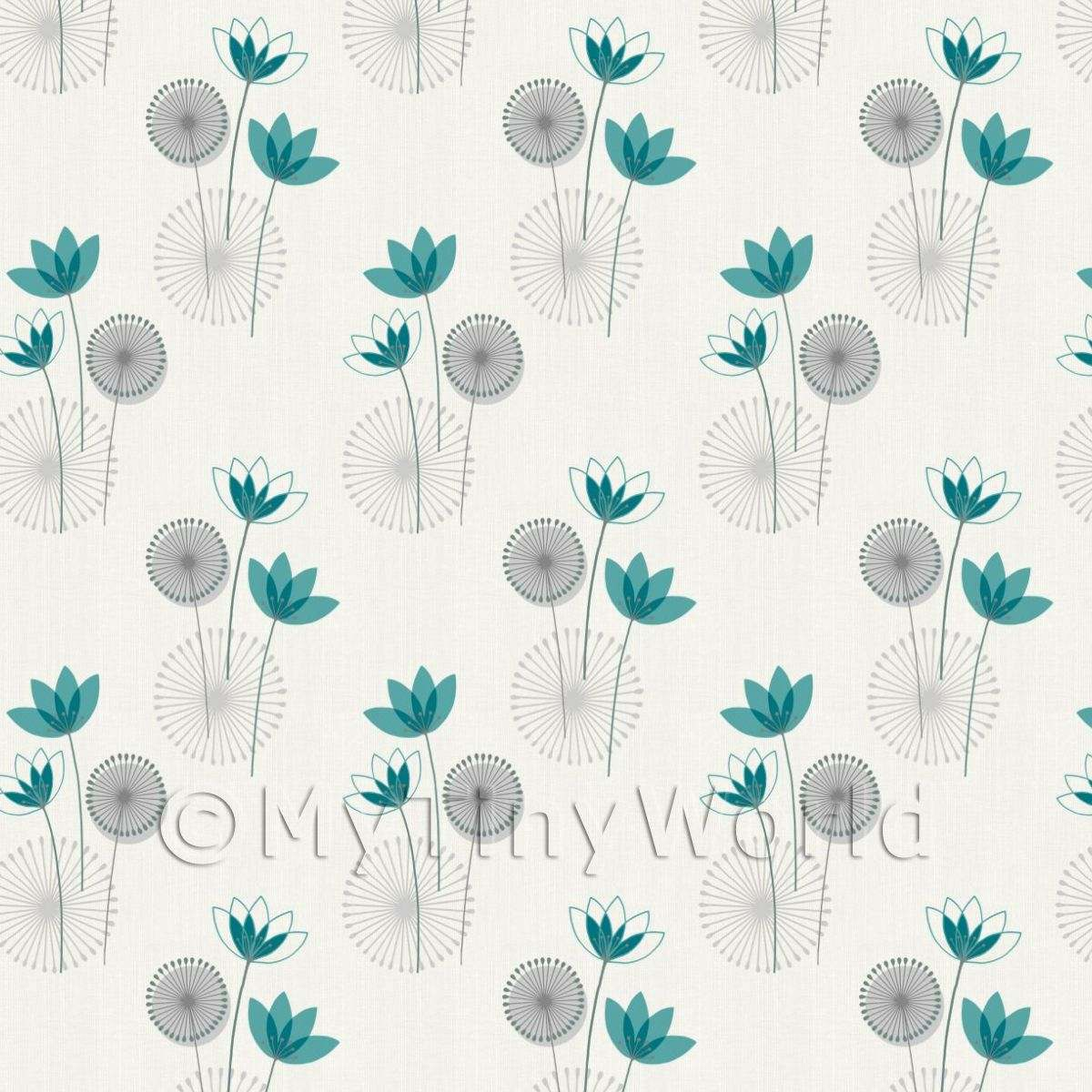 Dolls House Miniature Styalised Teal Flower Wallpaper