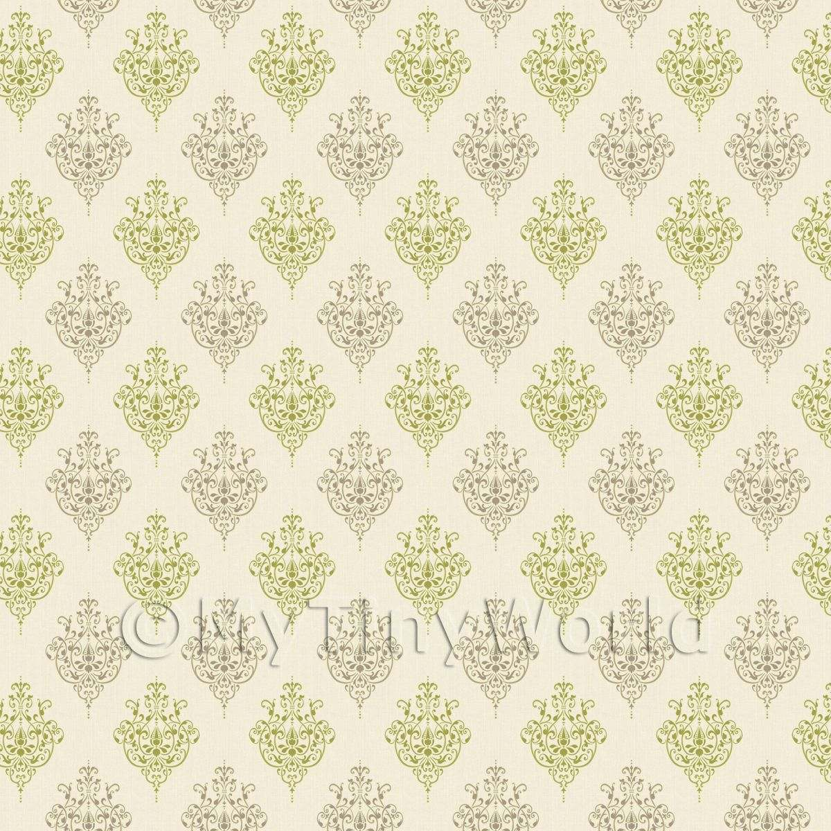 Dolls House Miniature Sage Green Heraldic Diamond Wallpaper