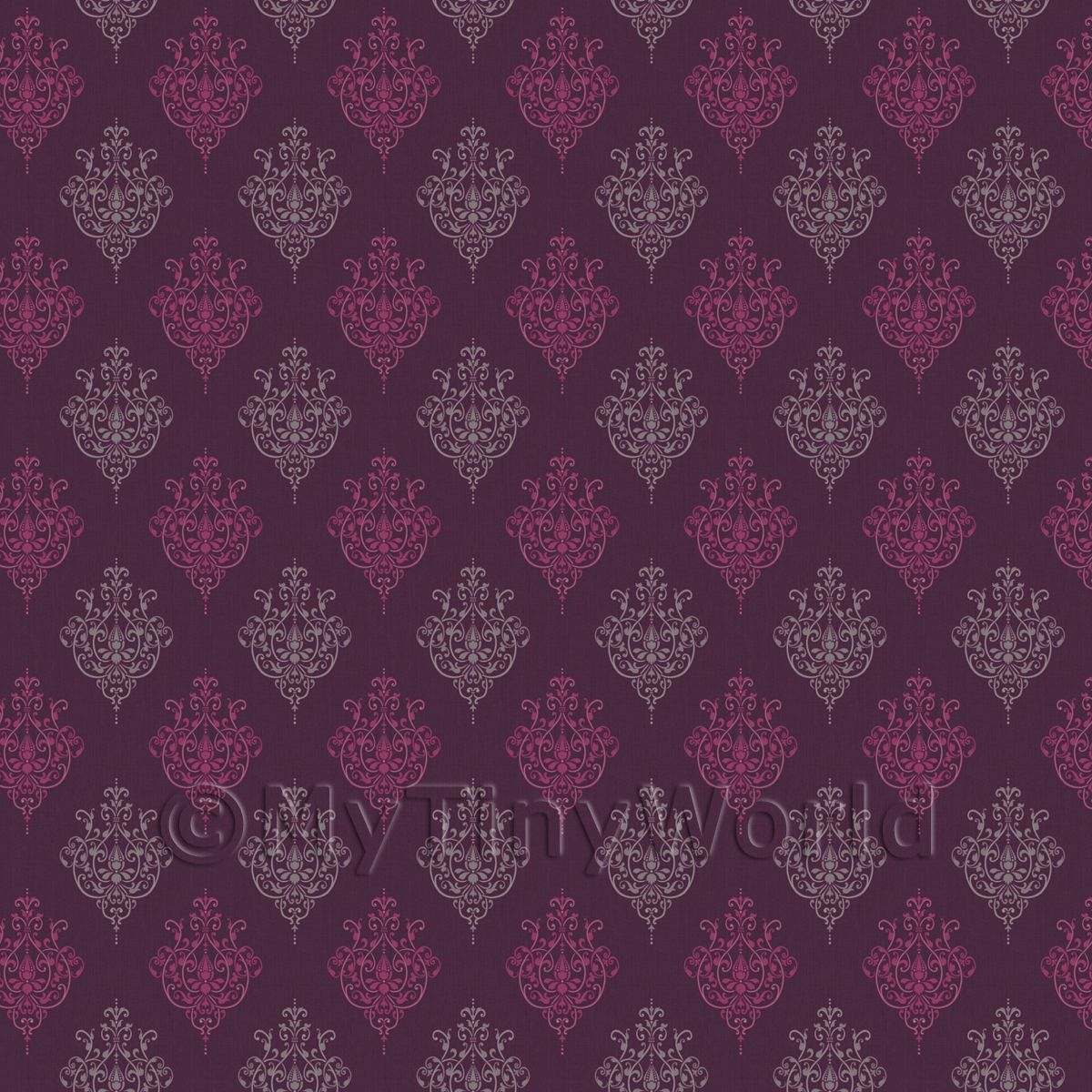 Dolls House Miniature Purple Heraldic Diamond Wallpaper