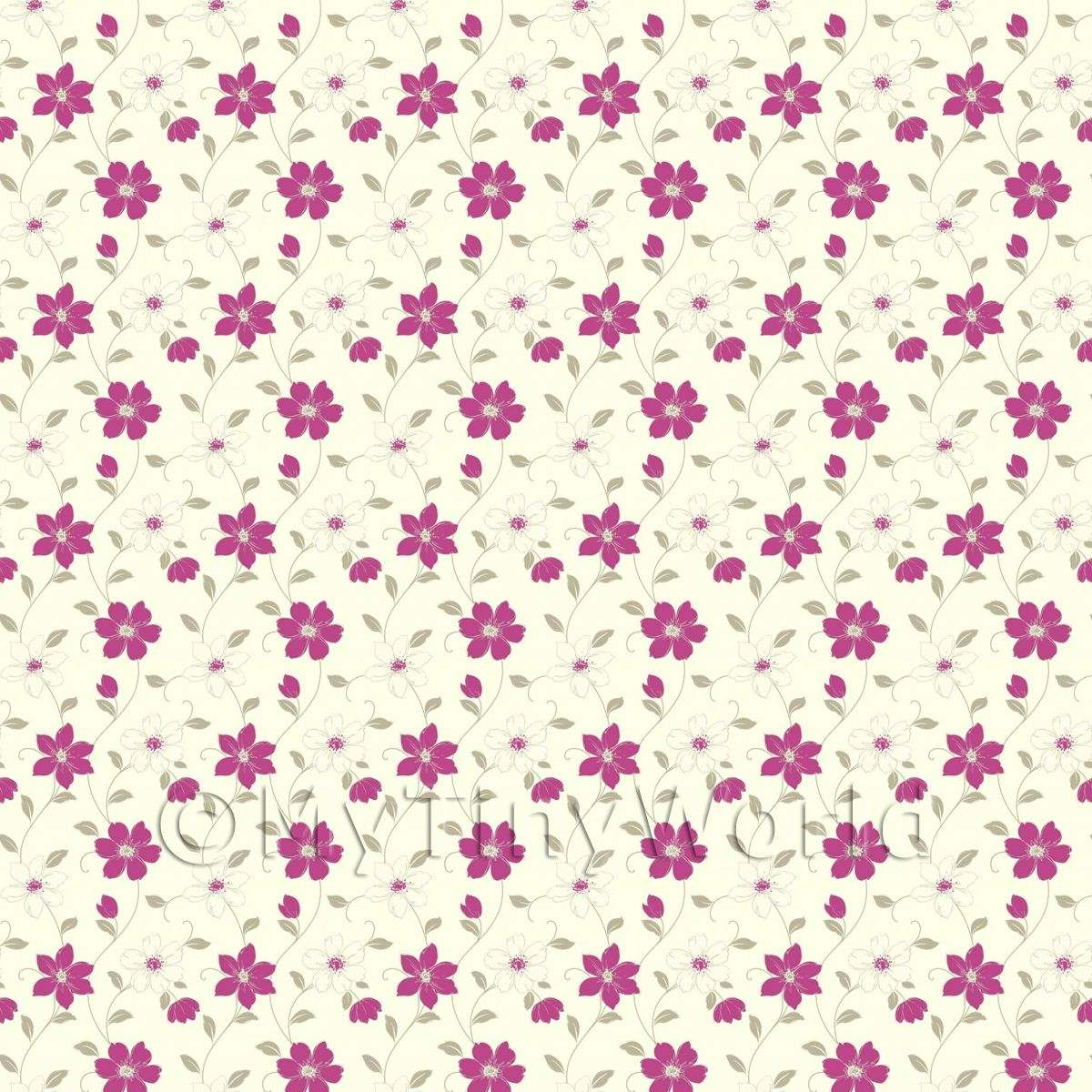 Dolls House Miniature 6 Petal Purple Flower Wallpaper