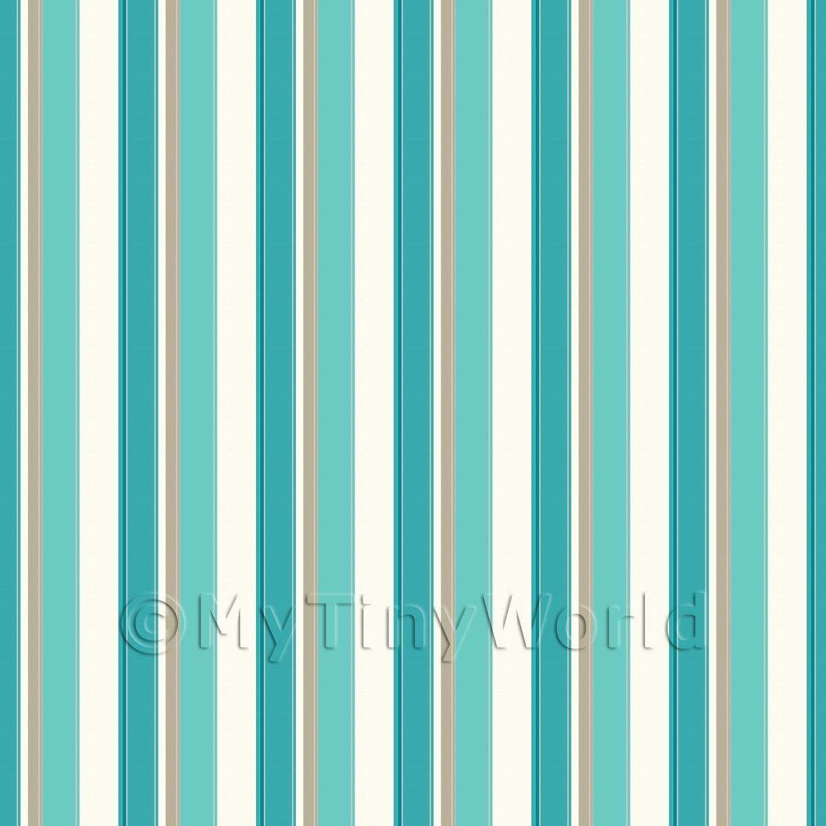 Dolls House Miniature Funky Teal Stripes Wallpaper