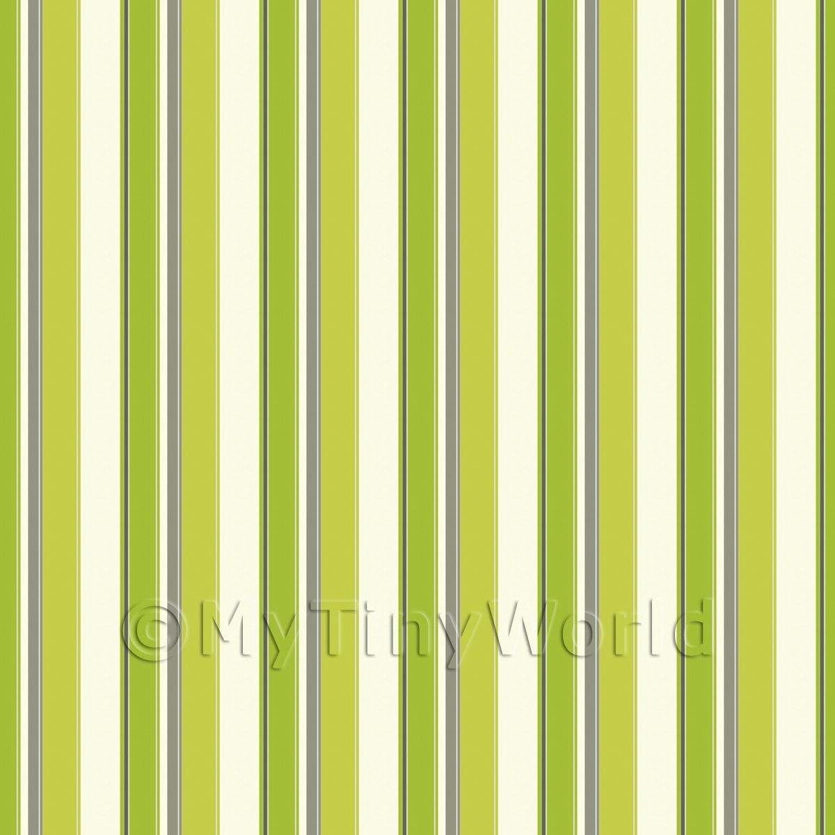 Dolls House Miniature Funky Sage Stripes Wallpaper