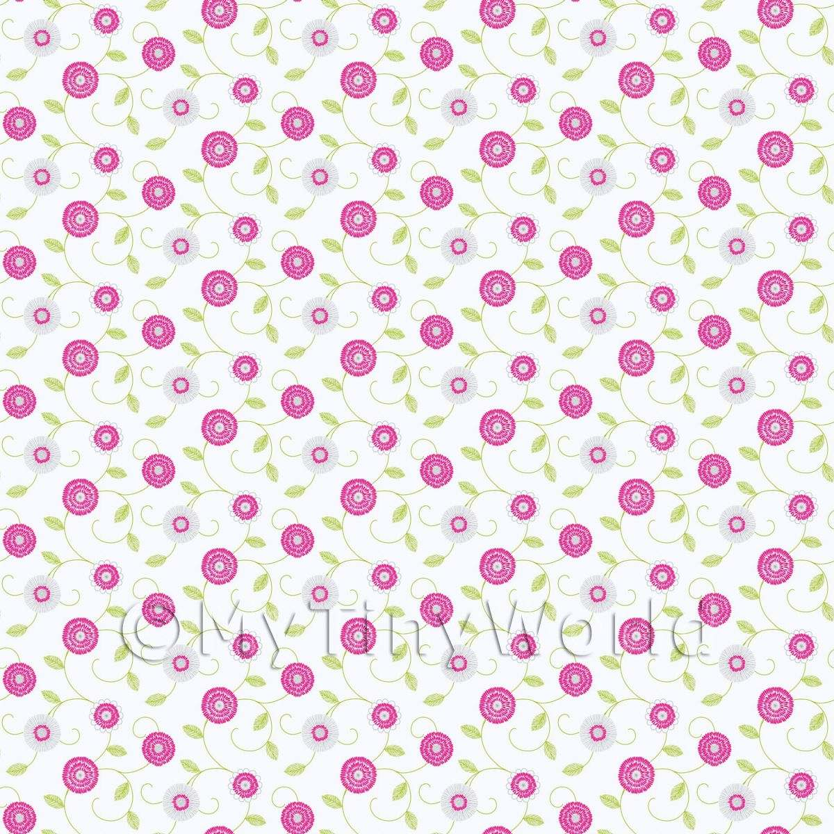Dolls House Miniature Round Pink And White Flower Wallpaper