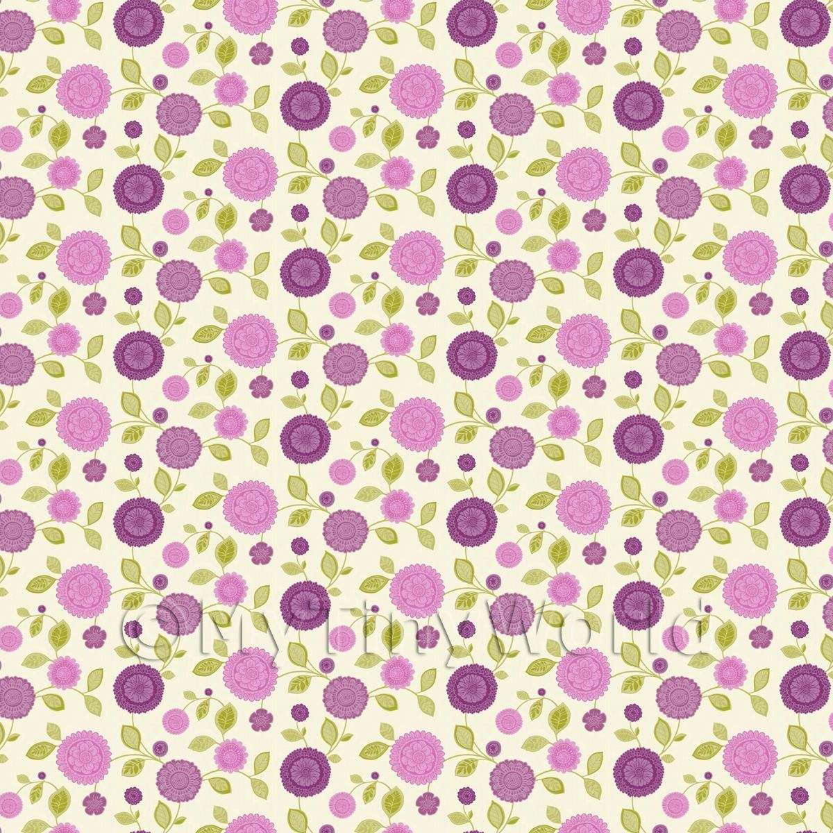 Dolls House Miniature Mixed Purple Flower Wallpaper