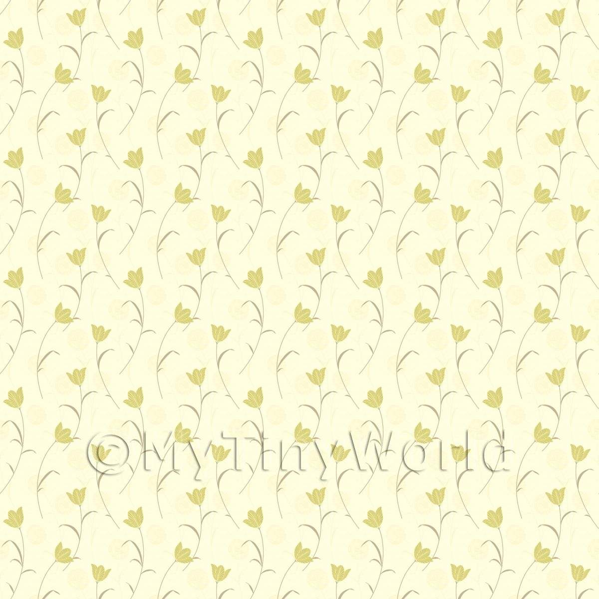 Dolls House Miniature Pale Yellow Flower And Stem Wallpaper