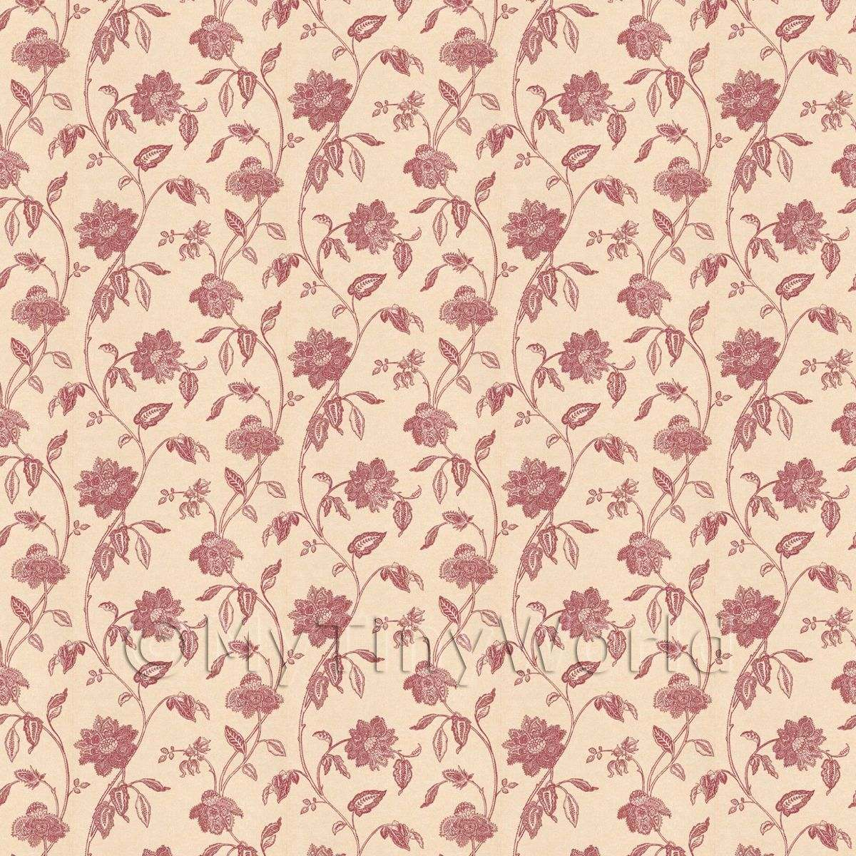 Dolls House Miniature Intricate Red Flower Wallpaper