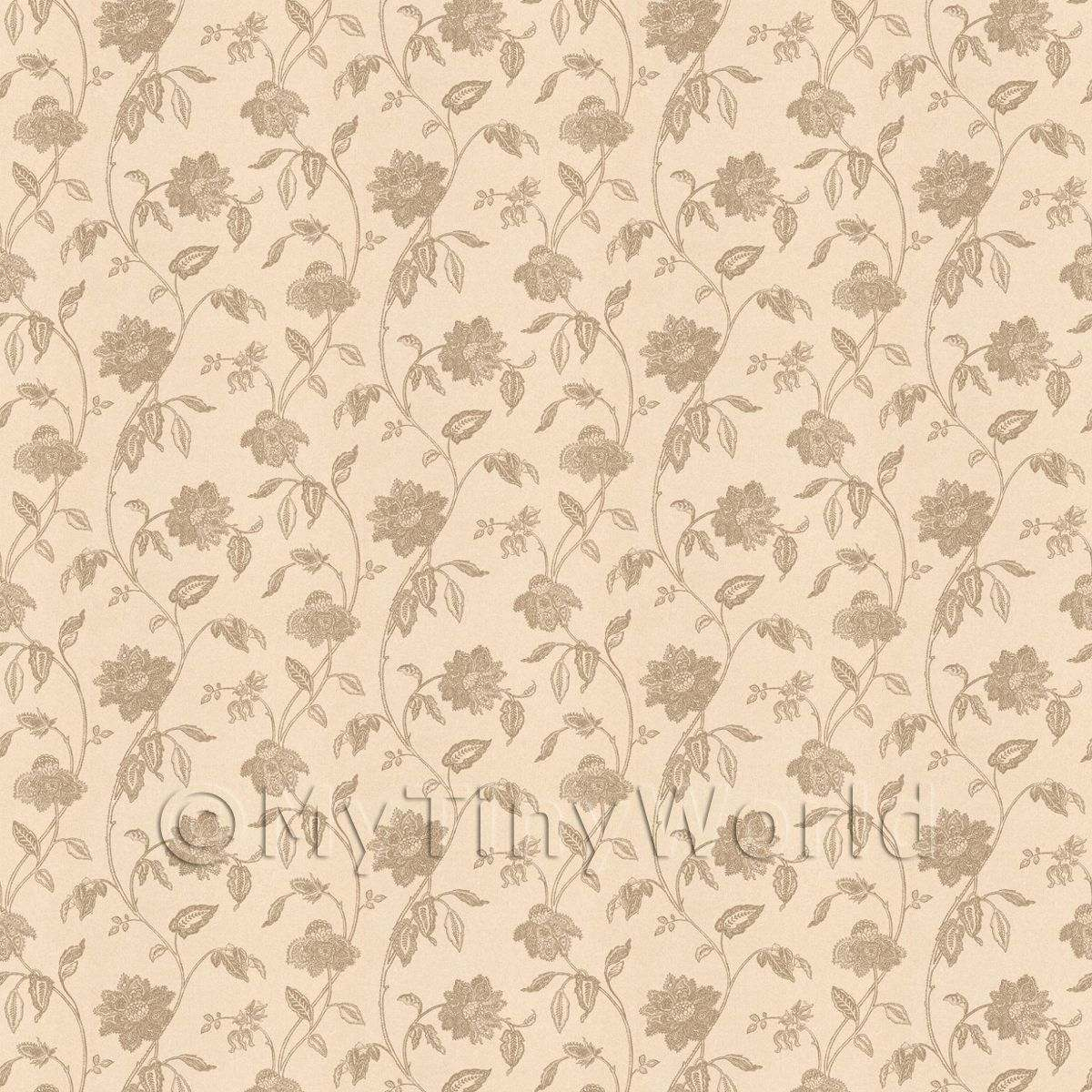 Dolls House Miniature Intricate Pale Gold Flower Wallpaper