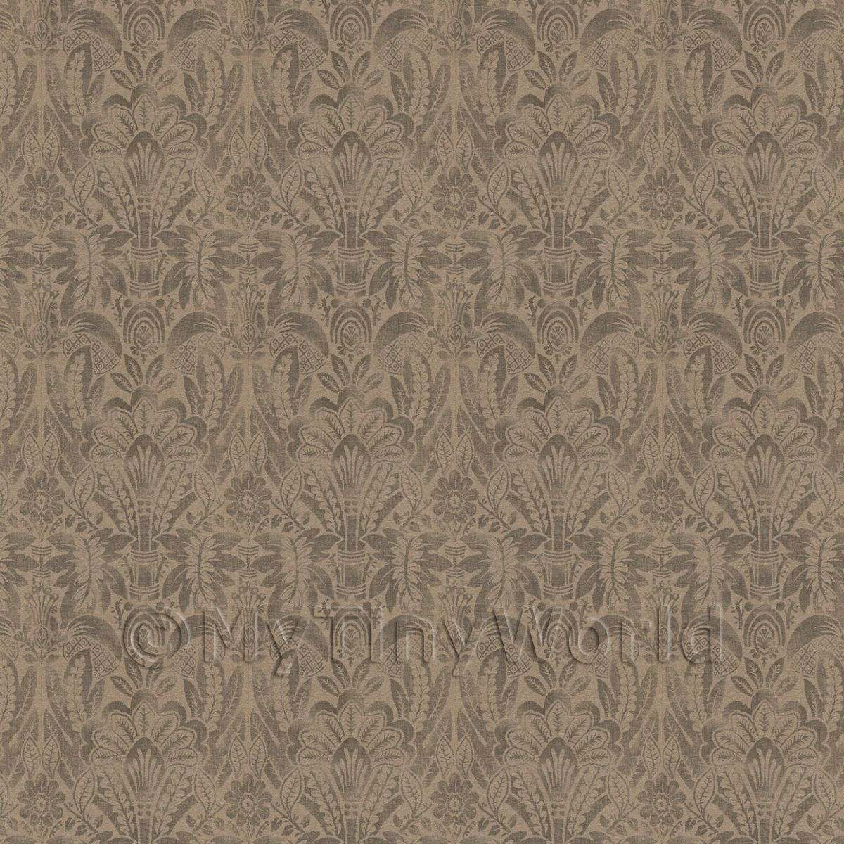 Dolls House Miniature Intricate Pale Gold On Brown Wallpaper