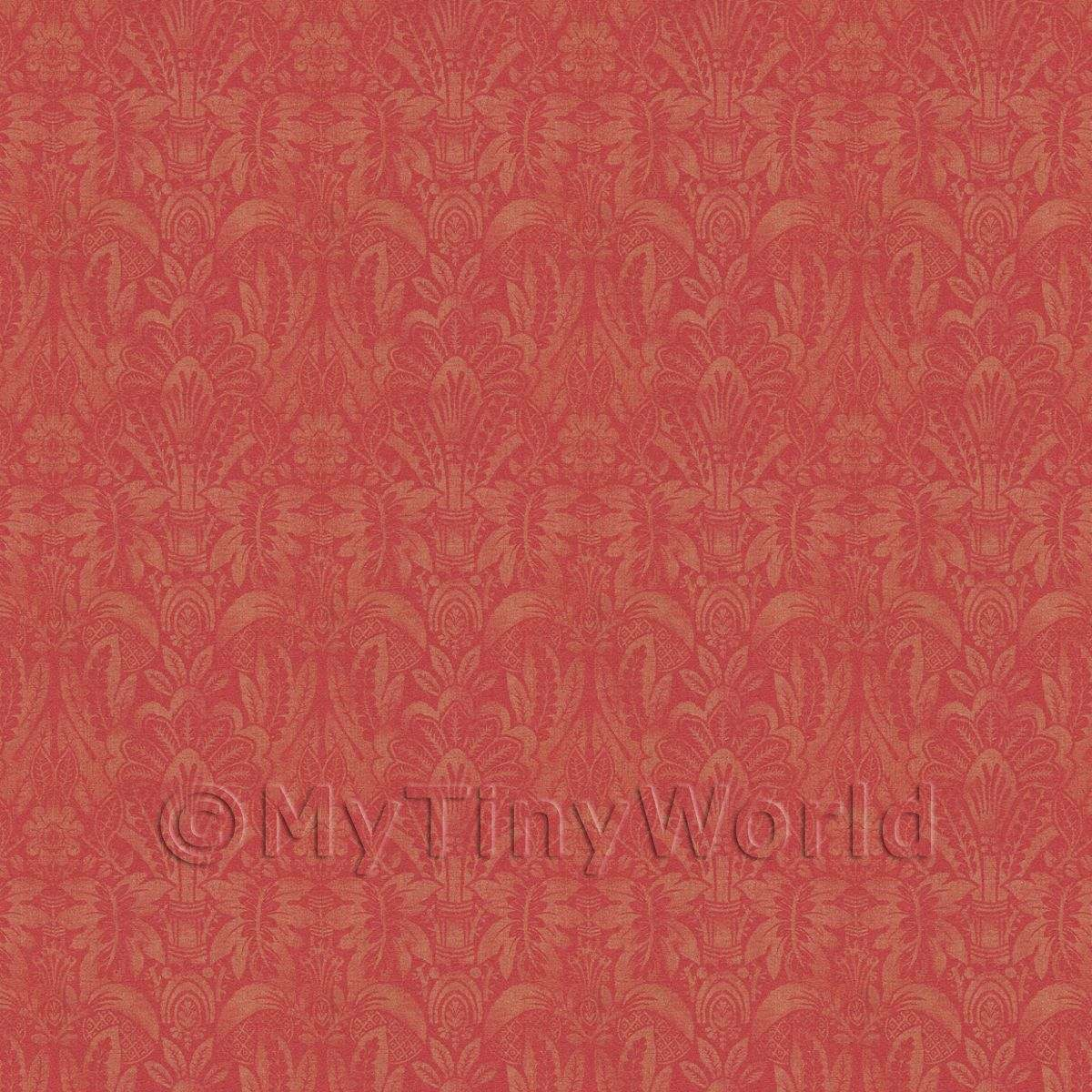 Dolls House Miniature Intricate Pale Gold On Red Wallpaper