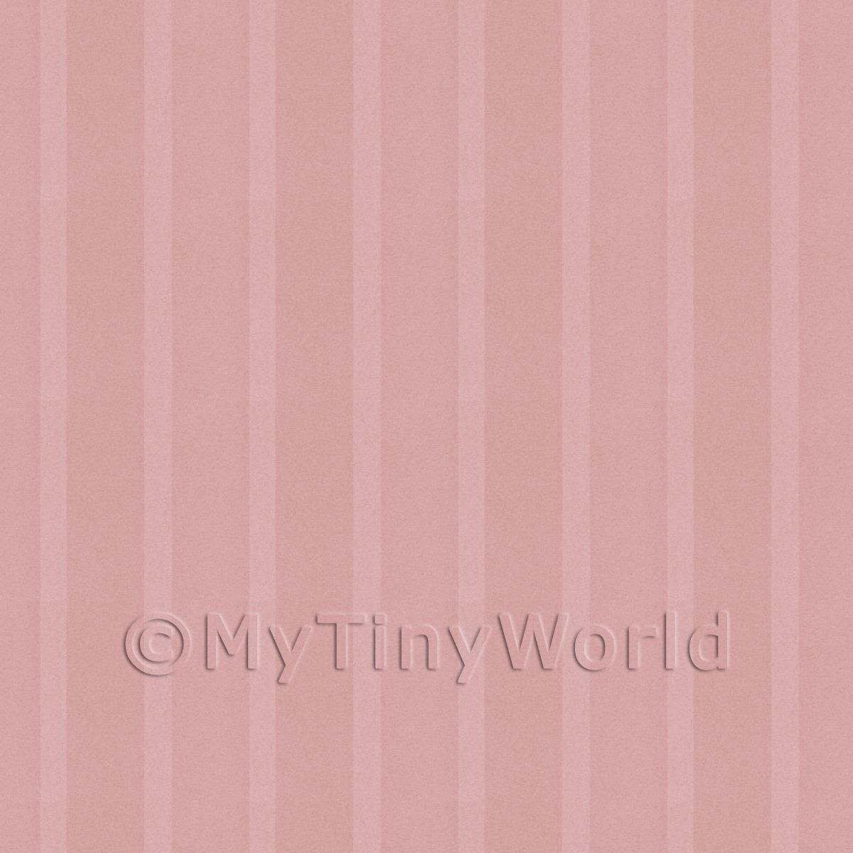 Dolls House Miniature Thick Deep Rose Striped Wallpaper