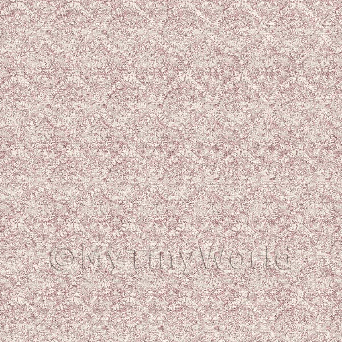 Dolls House Miniature Intricate Old Red Pattern Wallpaper