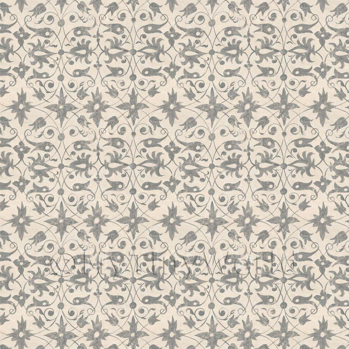 Dolls House Miniature Grey Wood Cut Print Style Wallpaper