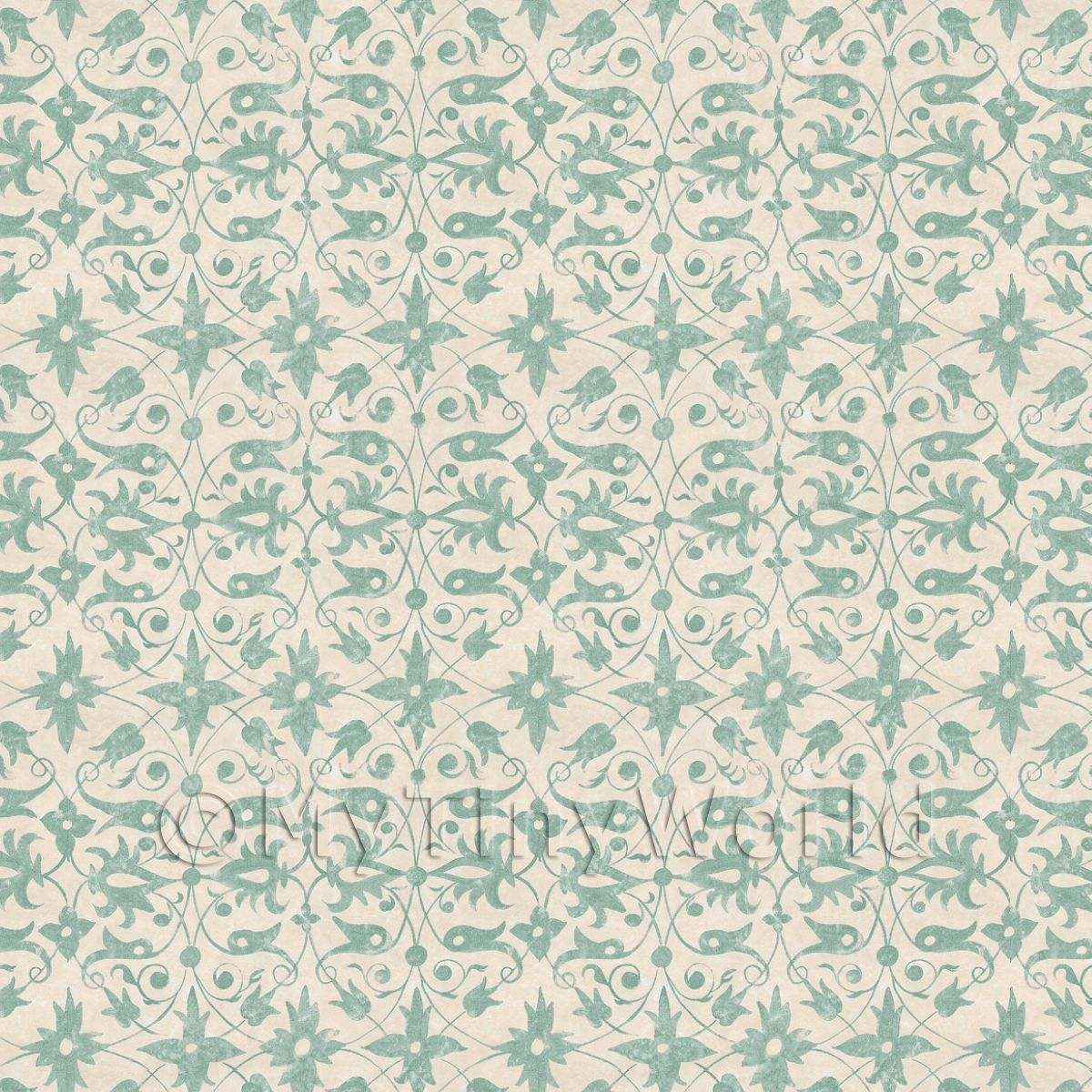 Dolls House Miniature Green Wood Cut Print Style Wallpaper