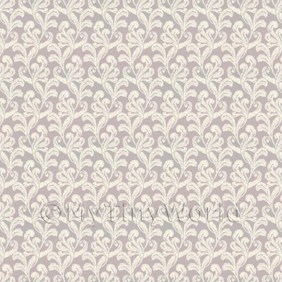 Dolls House Miniature Classic Beige Furled Leaf Wallpaper