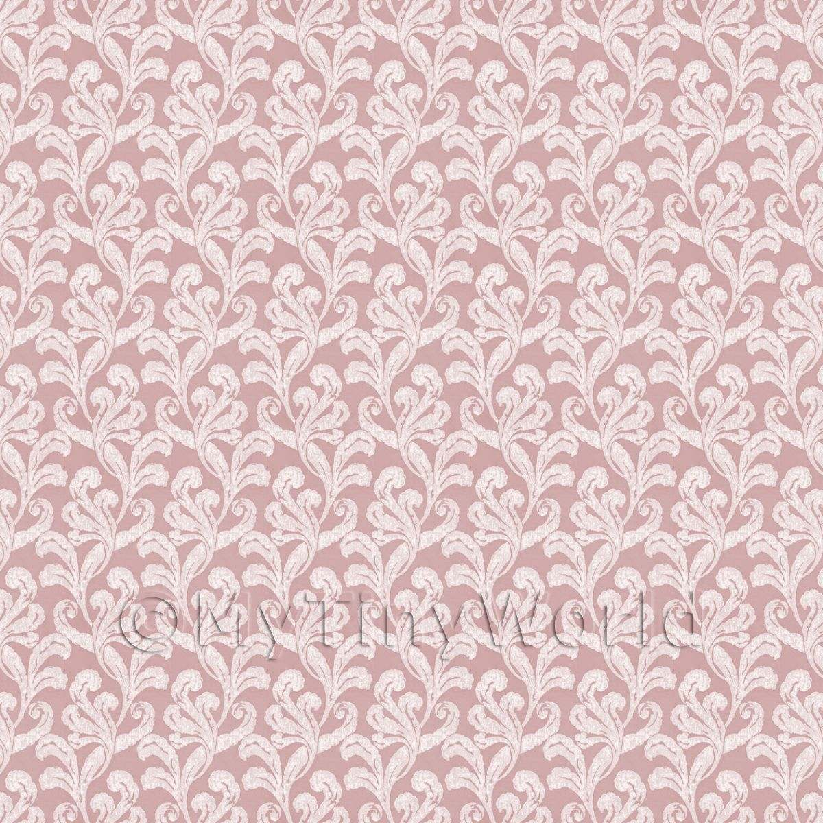 Dolls House Miniature Pale Red Furled Leaf Wallpaper