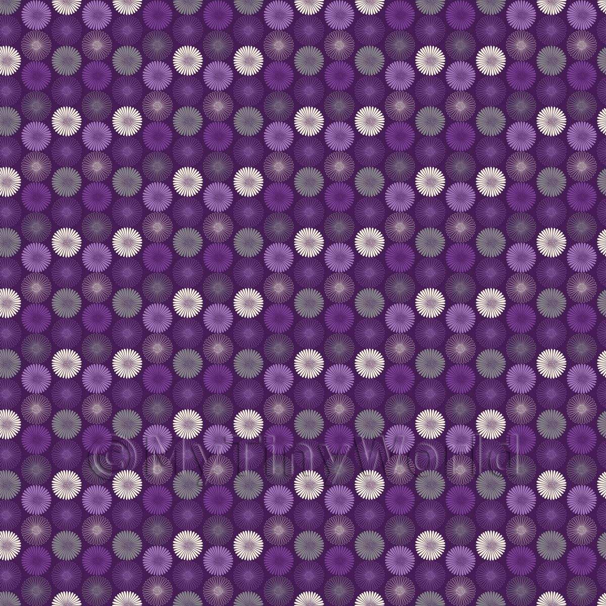 Dolls House Miniature Purple And White Daisies Wallpaper
