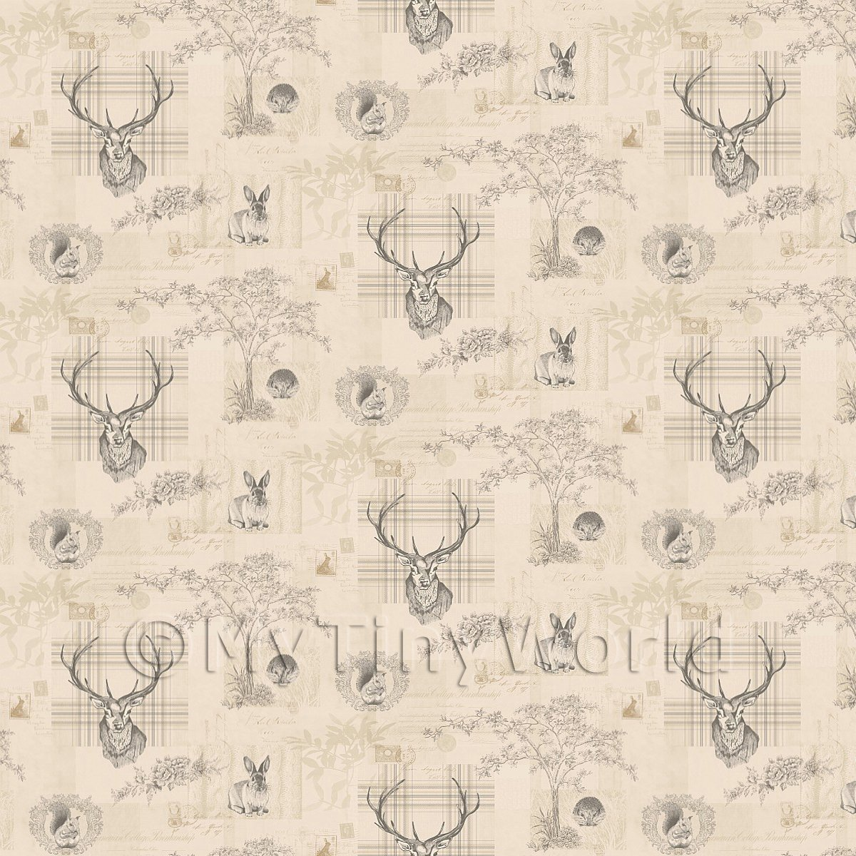 Pack of 5 Dolls House Beige And Black Highland Animal Wallpaper Sheets