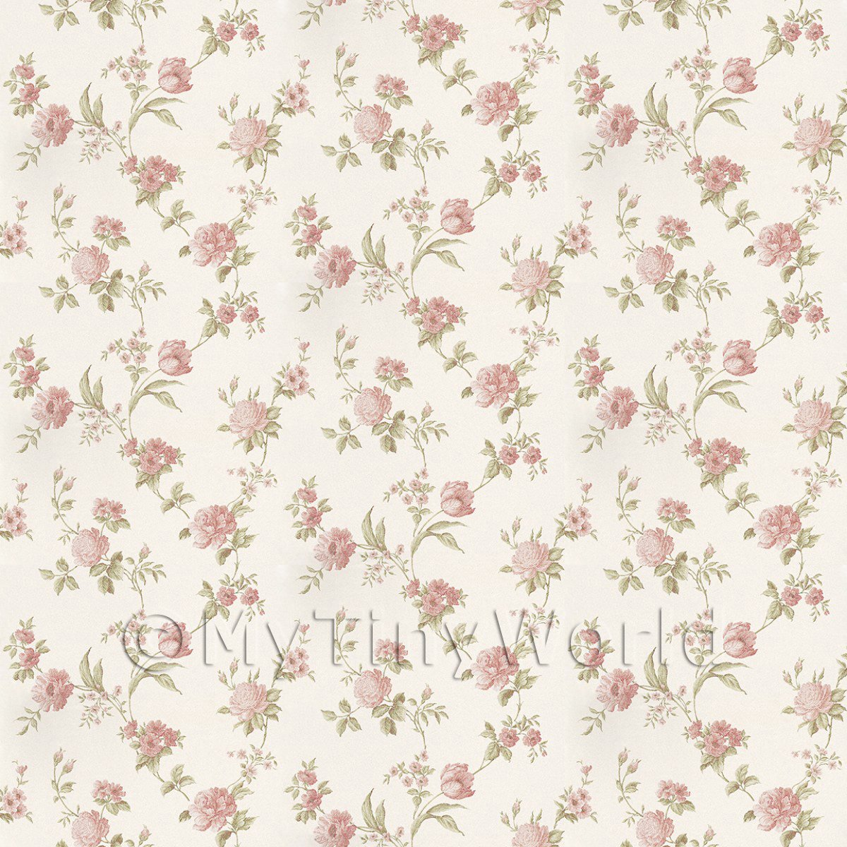 Pack of 5 Dolls House Mixed Pink Flowers On Pale White Wallpaper Sheets