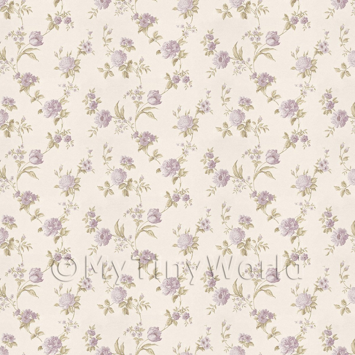 Pack of 5 Dolls House Mixed Violet Flowers On White Wallpaper Sheets