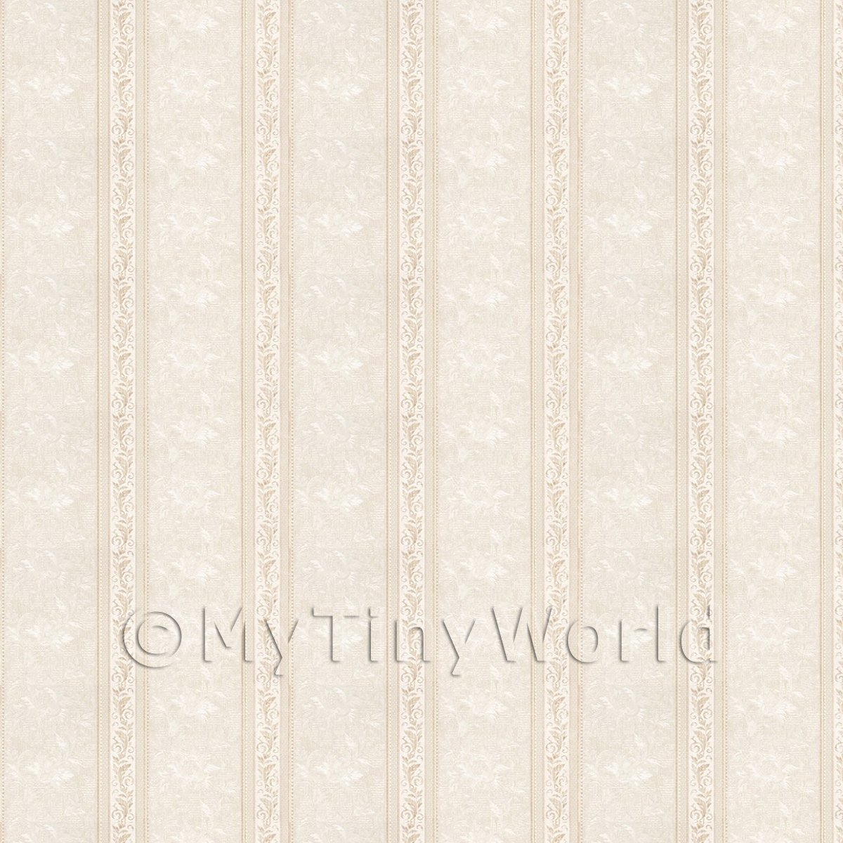 Pack of 5 Dolls House Ornate Pale Beige Striped Wallpaper Sheets
