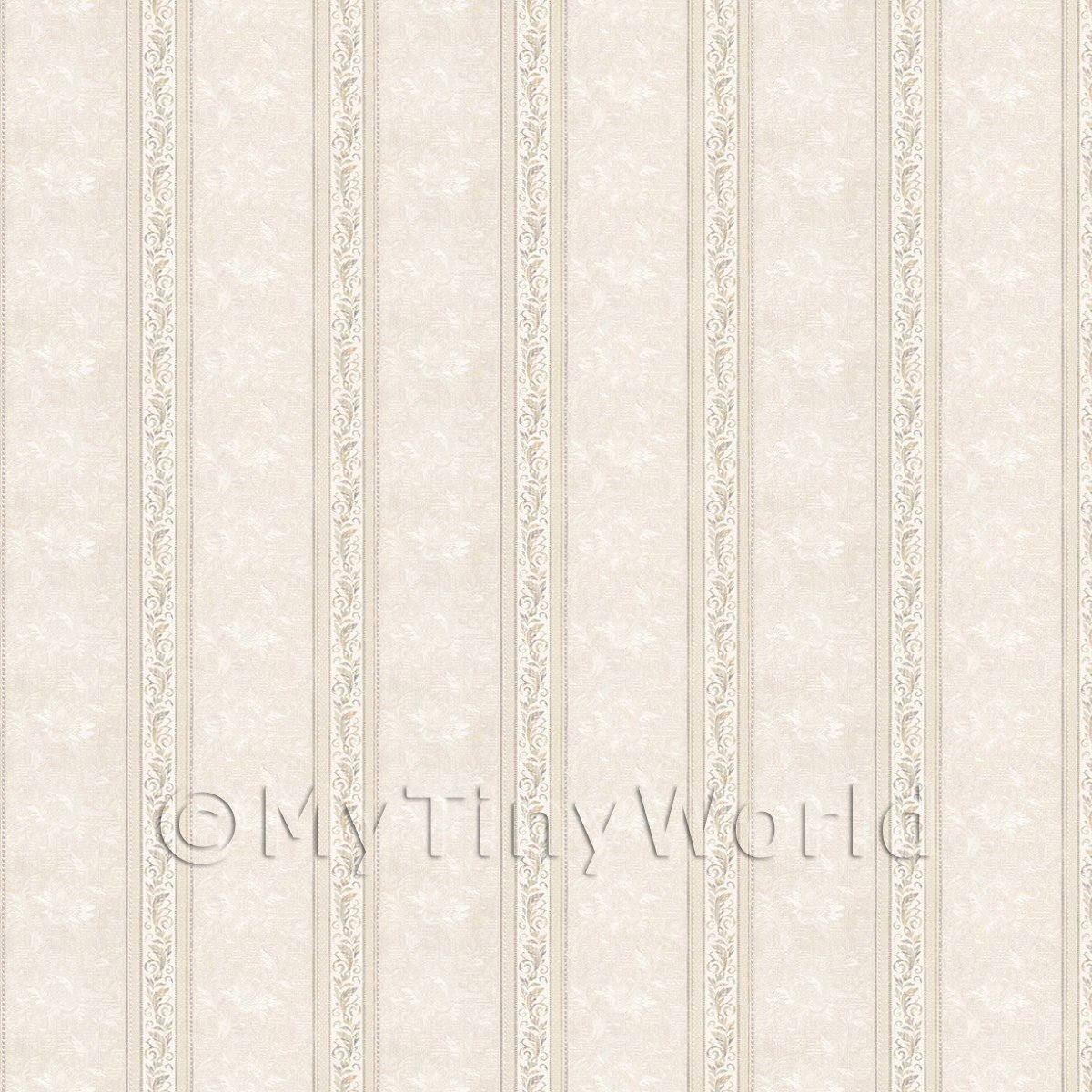 Dolls House Miniature Ornate Pale Beige And Grey Striped Wallpaper
