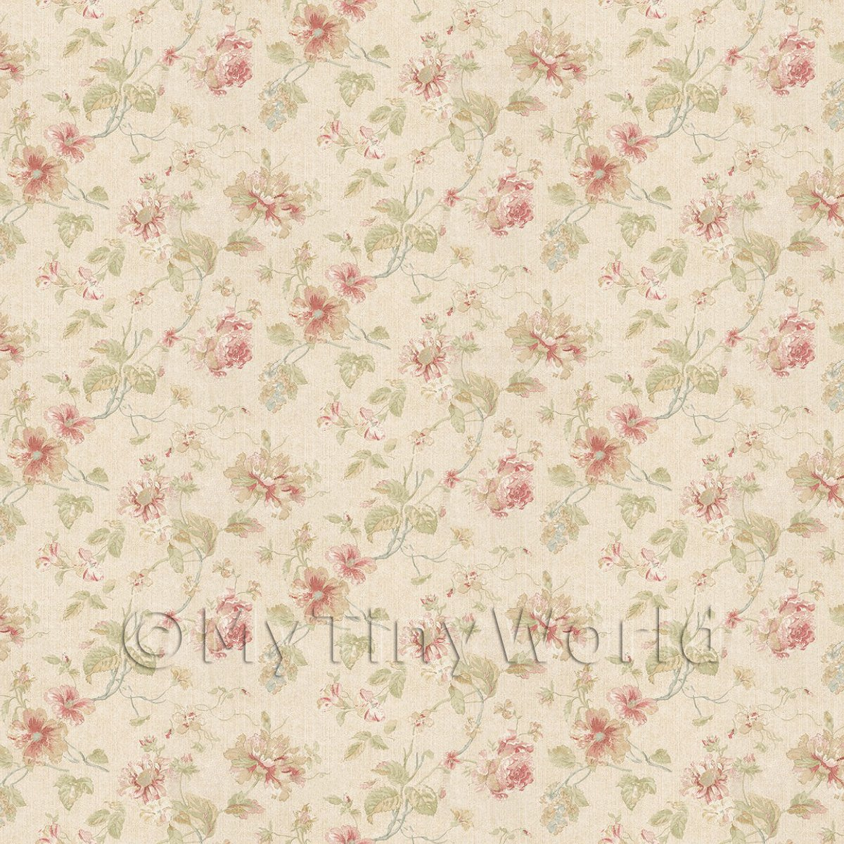 Pack of 5 Dolls House Pale Red Mixed Flower Design Wallpaper Sheets