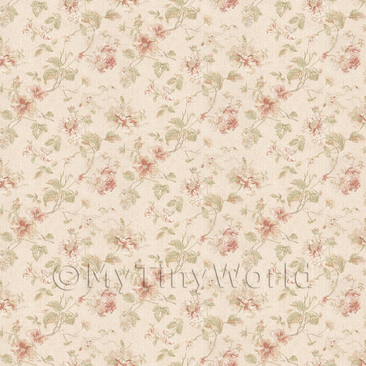 Pack of 5 Dolls House Dark Pink Mixed Flower Design Wallpaper Sheets