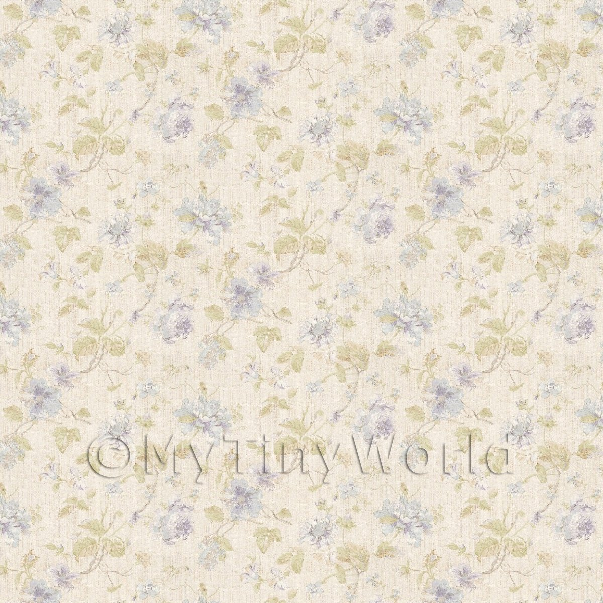 Pack of 5 Dolls House Pale Blue Mixed Flower Design Wallpaper Sheets