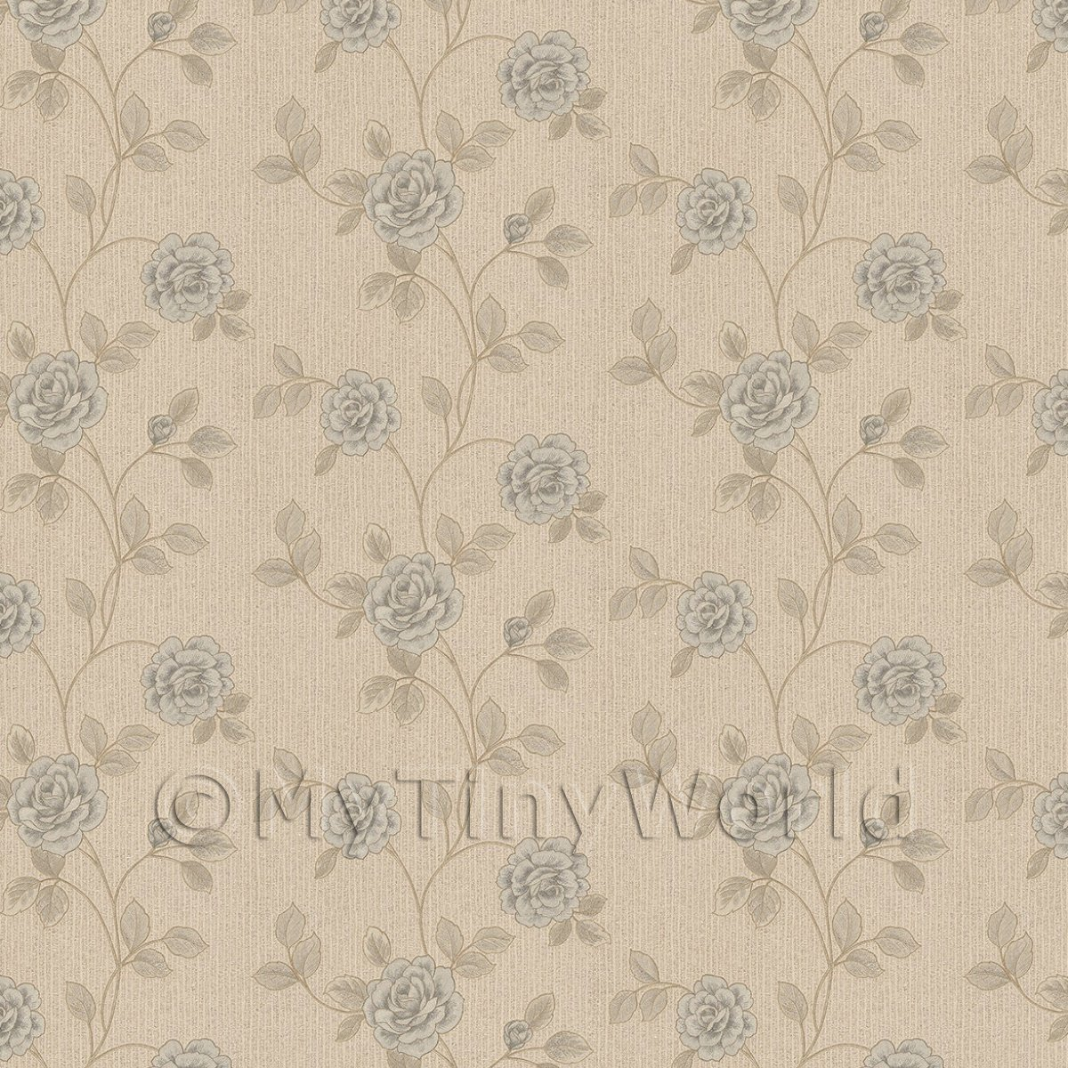 Pack of 5 Dolls House Powder Blue Climbing Rose Wallpaper Sheets