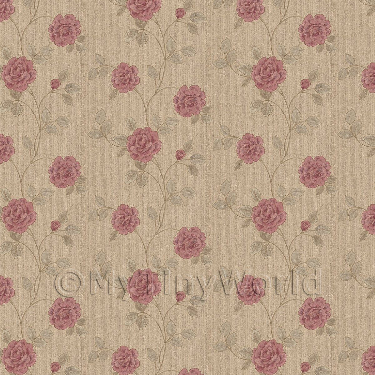 Pack of 5 Dolls House Dark Pink Climbing Rose Wallpaper Sheets
