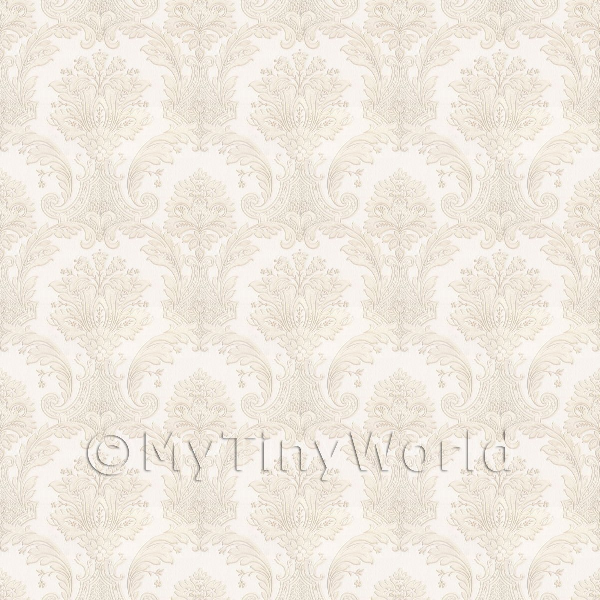 Pack of 5 Dolls House Cream Damask Style Wallpaper Sheets