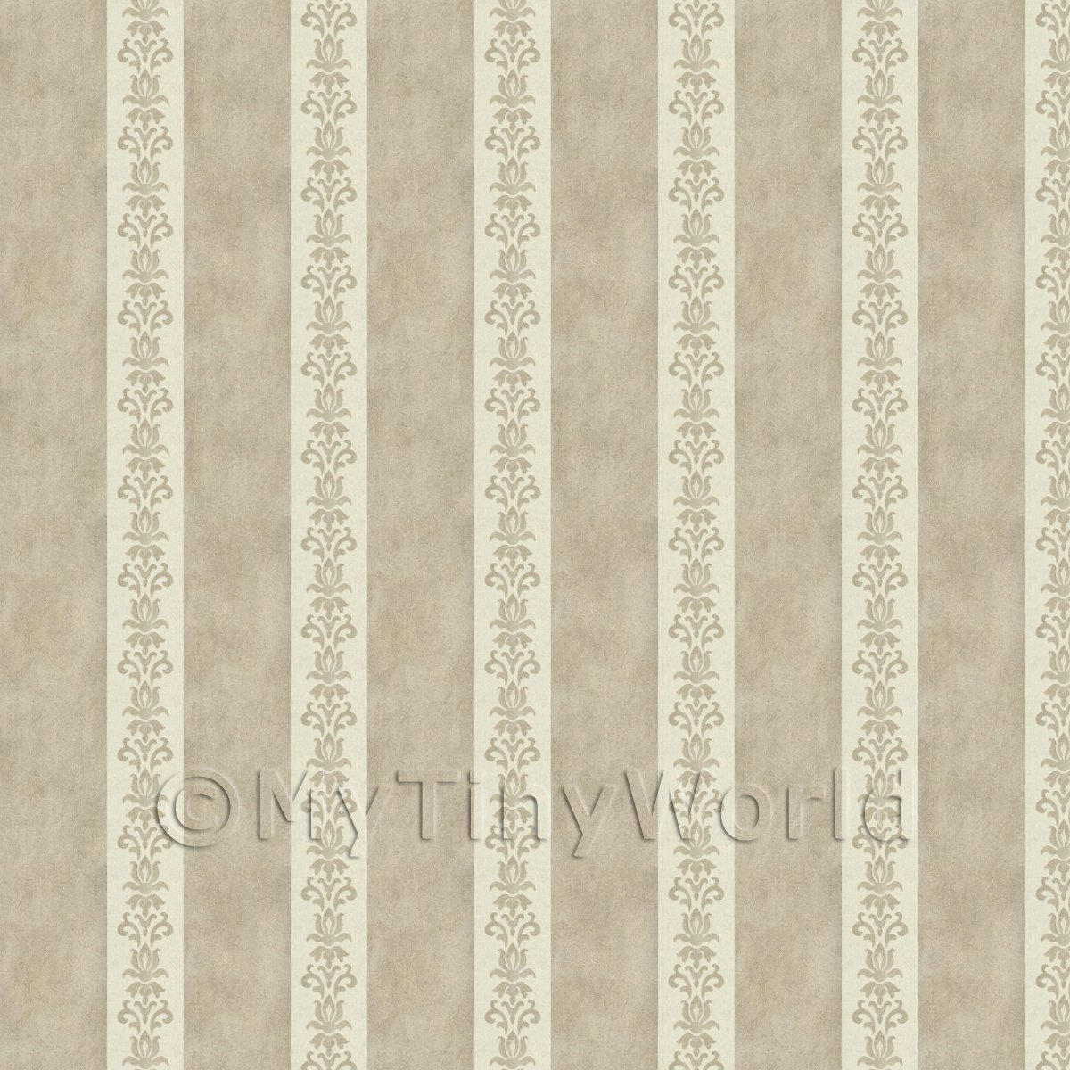 Pack of 5 Dolls House Light Chocolate Floral Stripe Wallpaper Sheets