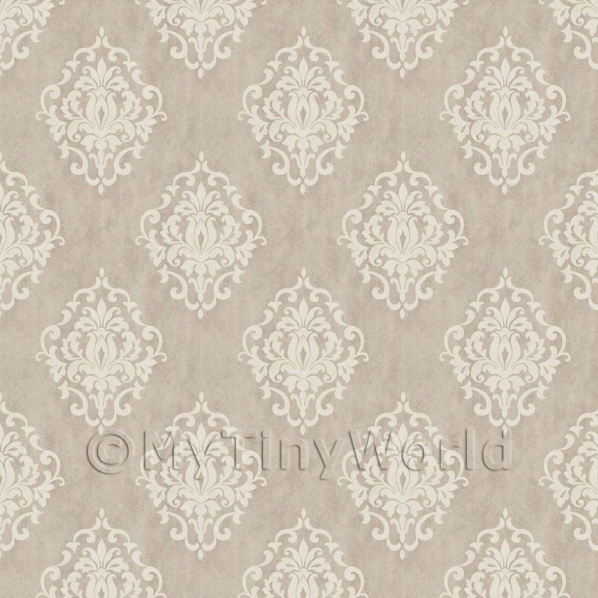 Pack of 5 Dolls House Pale Cocoa Floral Diamond Wallpaper Sheets