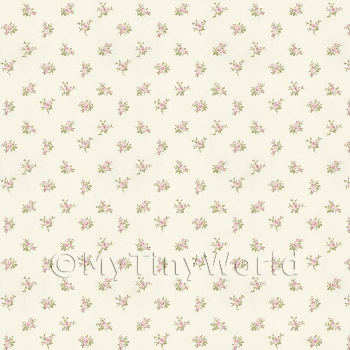 Dolls House Miniature Pale Pink Rose Posie Wallpaper