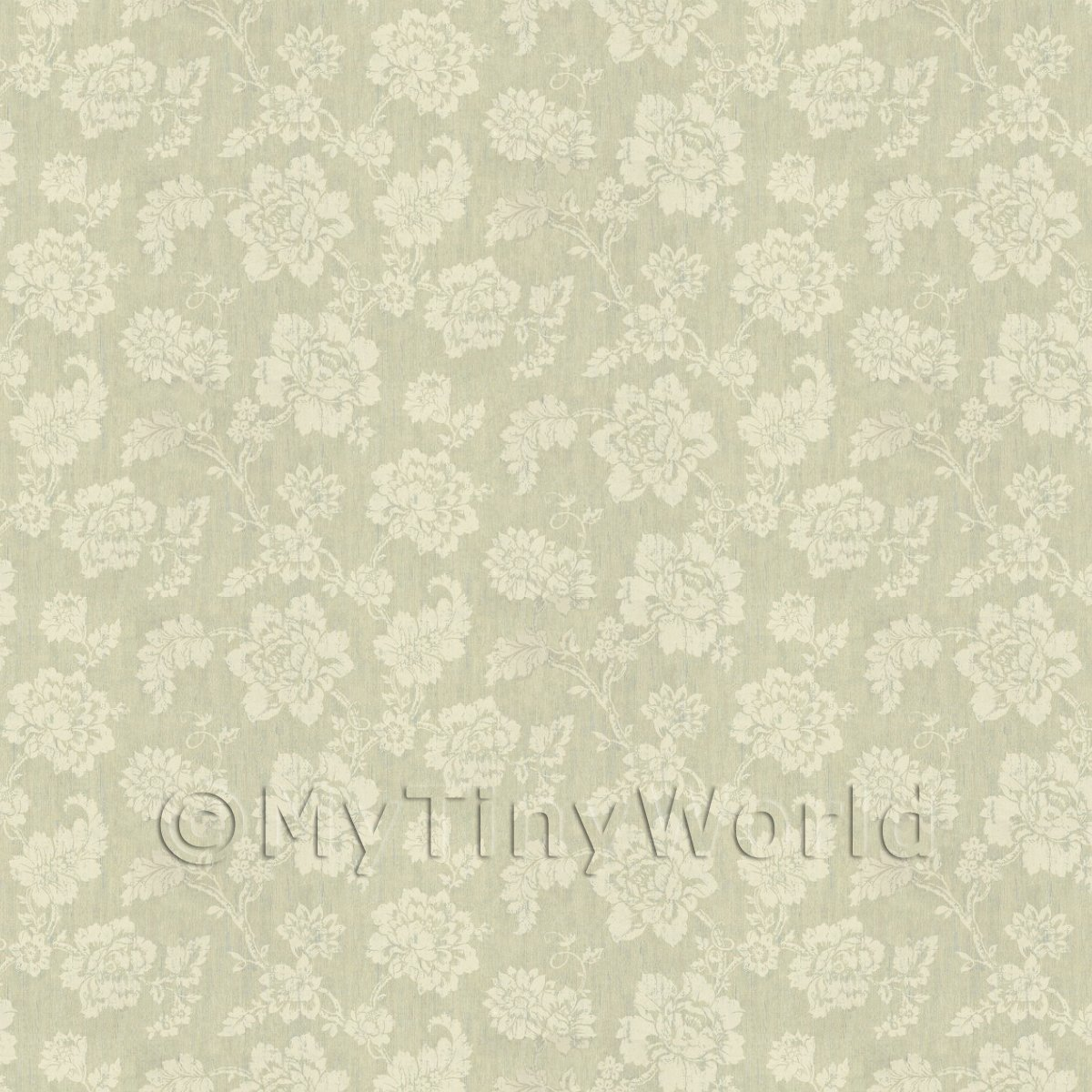 Dolls House Cream Floral Pattern On Light Green Fabric Style Print Wallpaper