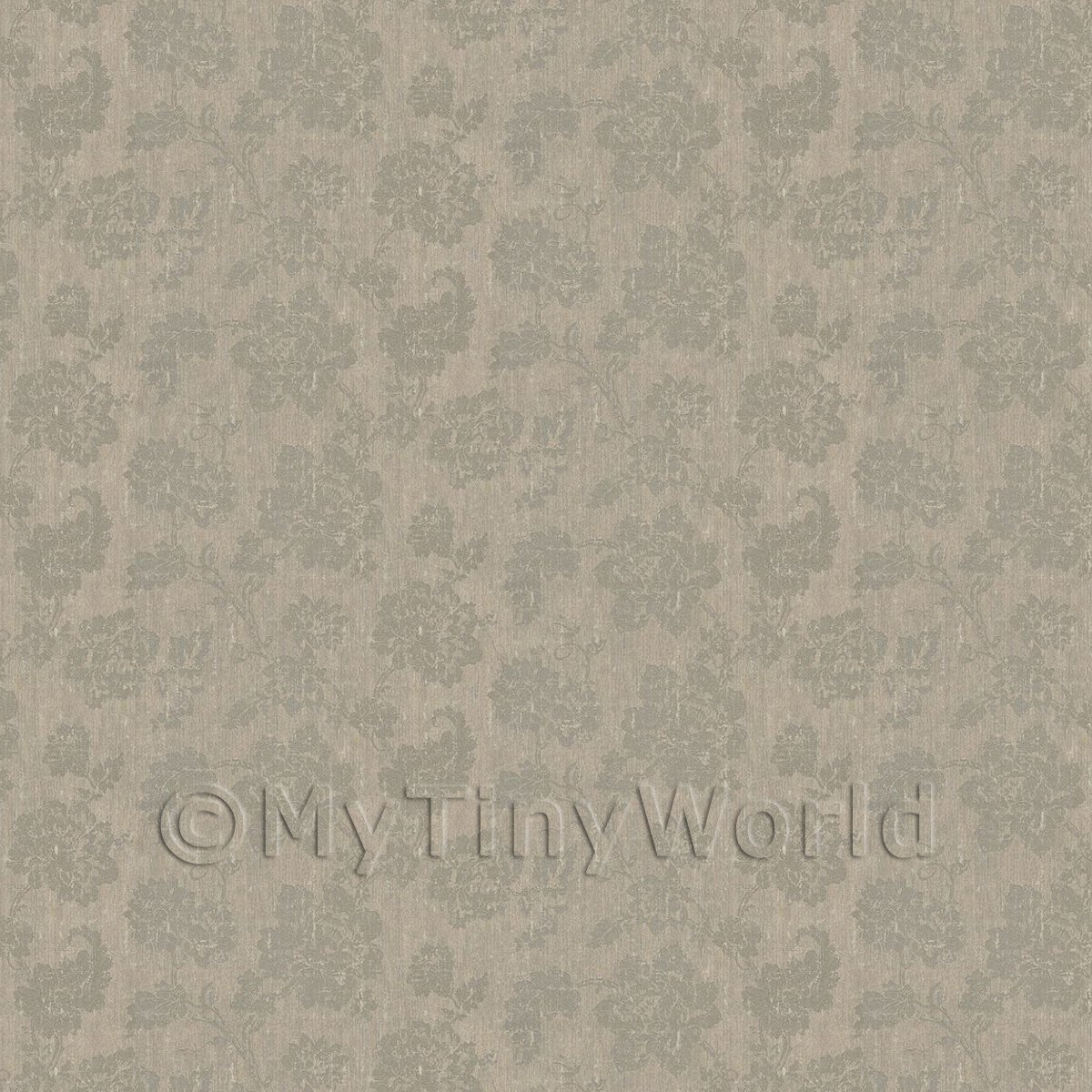 Dolls House Grey Floral Pattern On Light GreyFabric Style Print Wallpaper