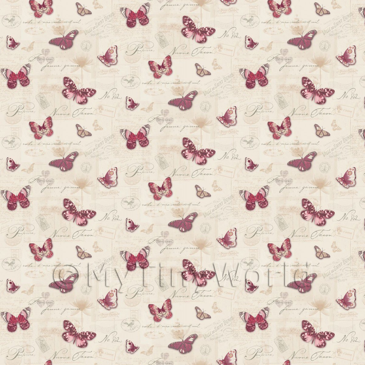 Pack of 5 Dolls House Butterflys On Pale Peach Wallpaper Sheets