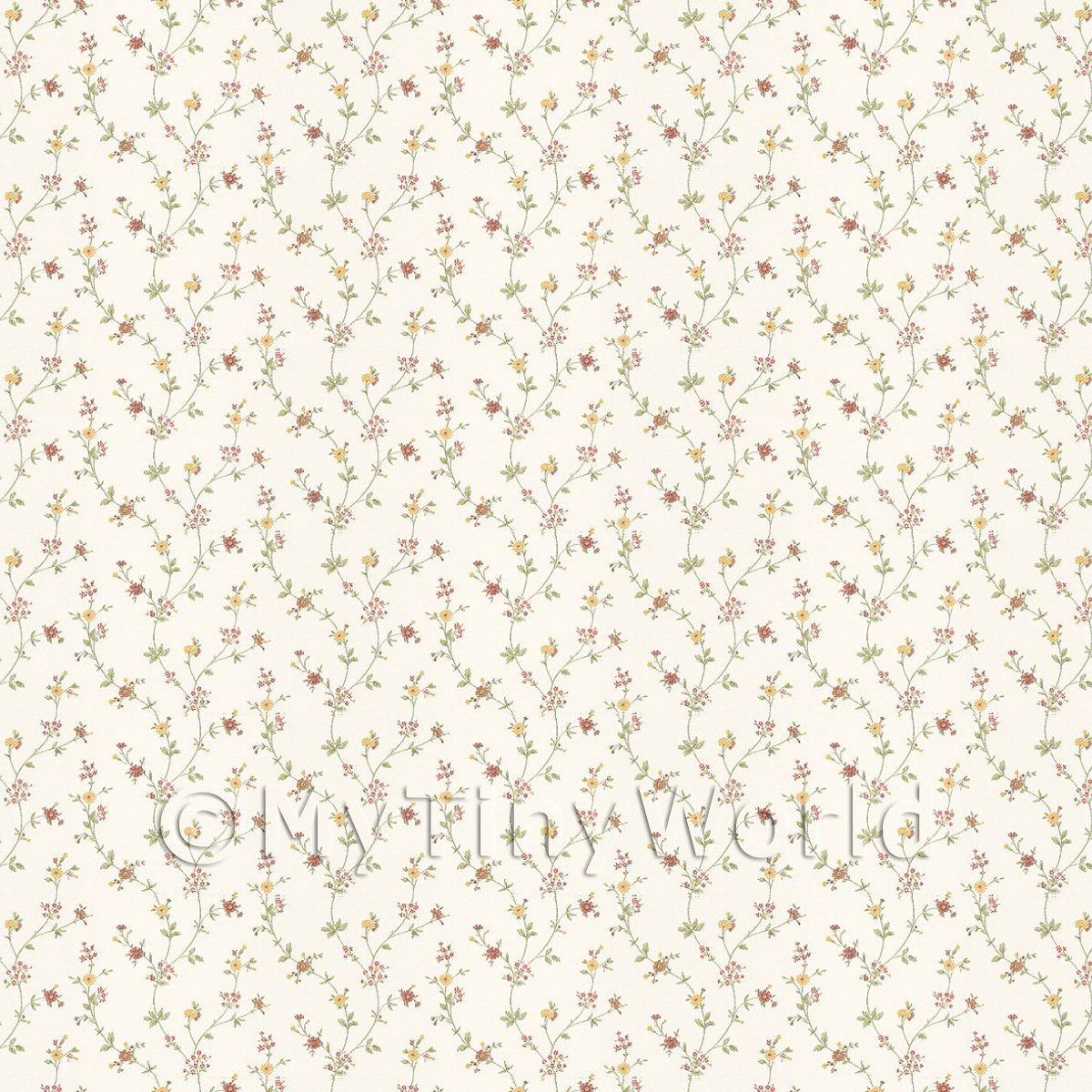 Dolls House Tiny Red And Yellow Trailing Meadow Flower Wallpaper