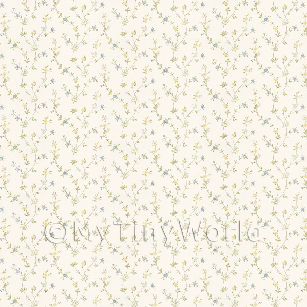 Dolls House Tiny Blue And Yellow Trailing Meadow Flower Wallpaper