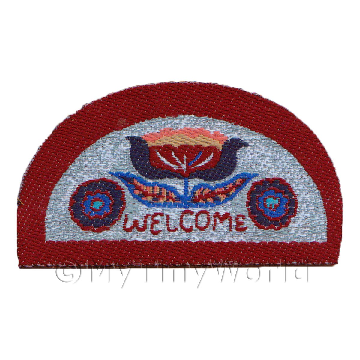 Dolls House 62mm Floral Half Moon Welcome Mat (WM11)