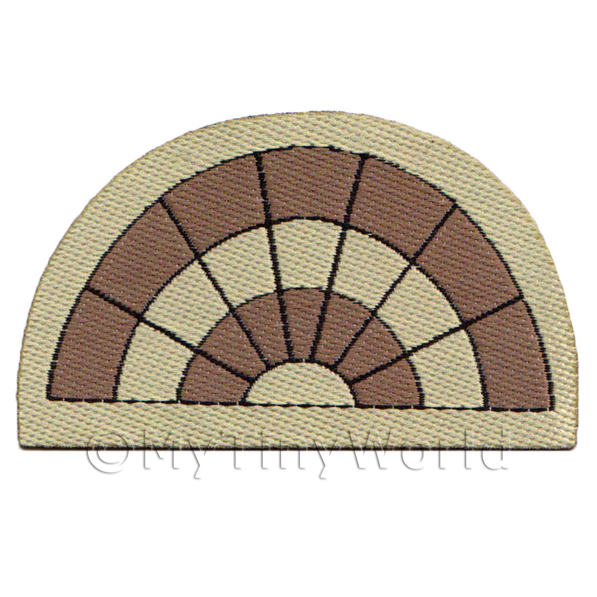 Dolls House Miniature 61mm Half Moon Dual Tone Welcome Mat (NW1)