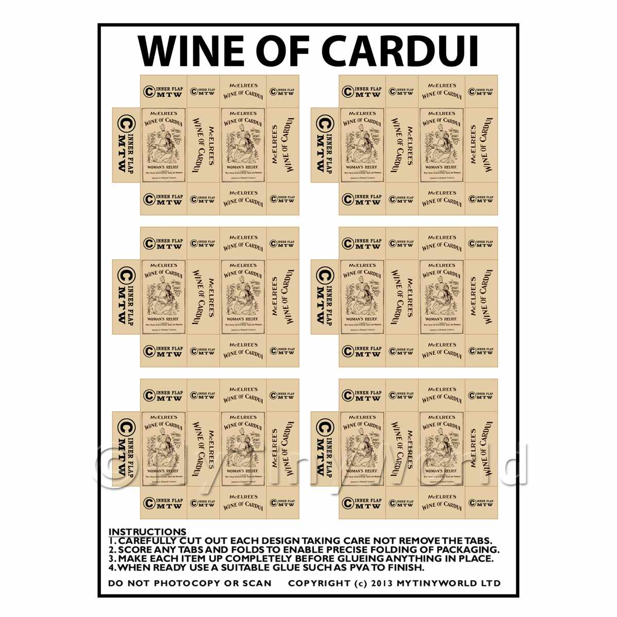 Dolls House Miniature Packaging Sheet of 6 Wine of Cardui