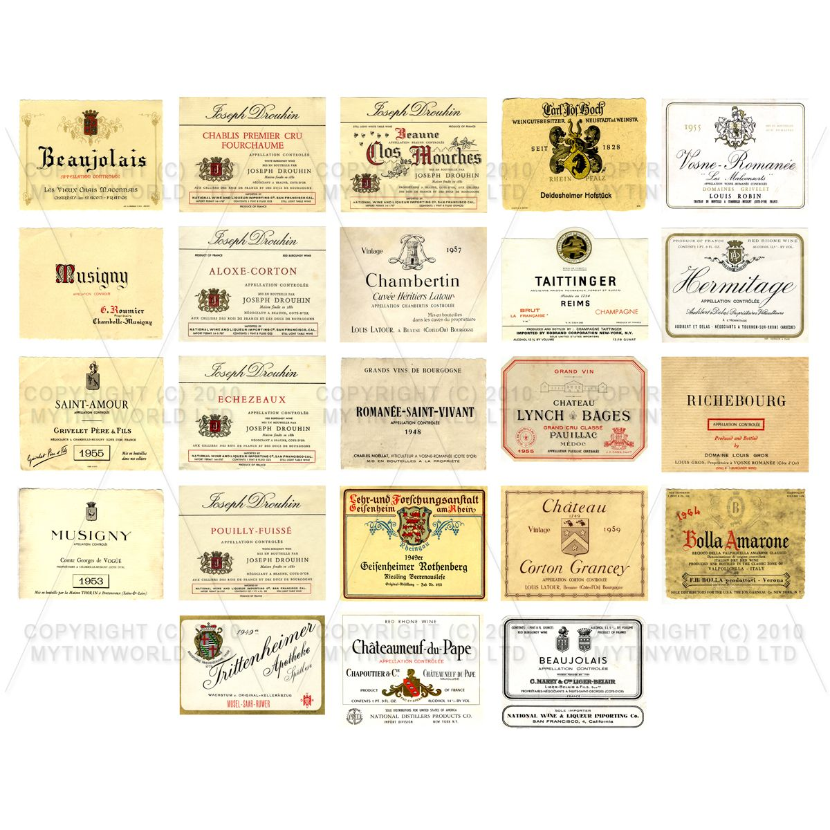 Set of 23 Miniature Assorted Wine Labels - WS02